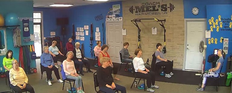 Coach Mel's Seniors chair yoga fitness class