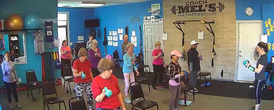 Coach Mel's Seniors kettlebell group fitness class