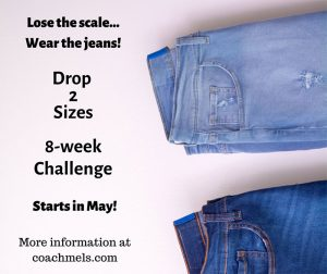 Drop 2 Sizes Challenge promo with jeans