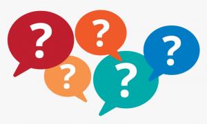 Multi-colored FAQ question marks