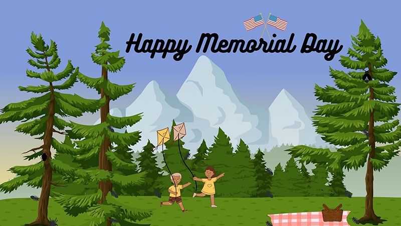 Picnic season in forest with children flying kites