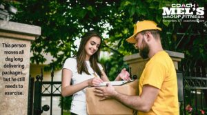 Man in yellow shirt delivering package to young woman.