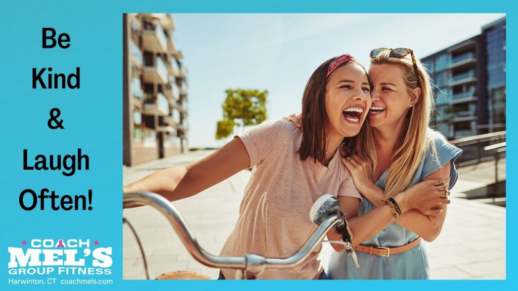 Be Kind and Laugh Often saying with two women and a bicycle