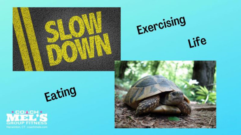 """Slow down eating, exercise and life. Turtle and words """"slow down"""" on road."""