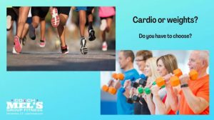 Cardio or weights? Runners and people using dumbbells.